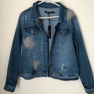 Max Jeans Embroidered Distressed Jean Jacket